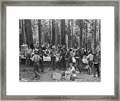 Logging Crew Lunch Framed Print by Underwood Archives