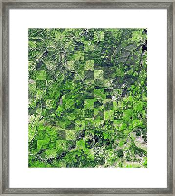 Logging Pattern Framed Print by Nasa/gsfc/meti/ersdac/jaros, And U.s./japan Aster Science Team