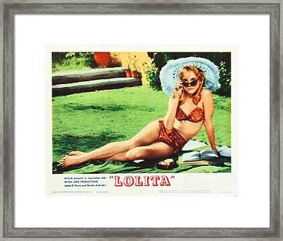 Lolita, Sue Lyon On Lobbycard, 1962 Framed Print by Everett