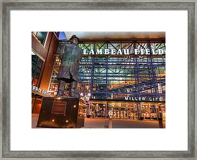 Lombardi At Lambeau Framed Print by Bill Pevlor