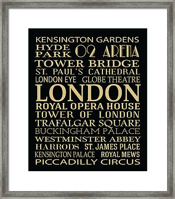 London Attractions Framed Print by Jaime Friedman
