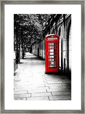 London Calling - Red Telephone Box Framed Print by Mark E Tisdale