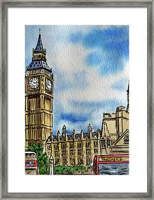 London England Big Ben Framed Print by Irina Sztukowski