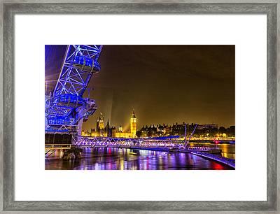 London Eye And Big Ben Framed Print by Ian Hufton