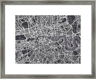 London Map Art Framed Print by Michael Tompsett