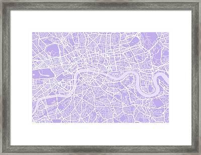 London Map Lilac Framed Print by Michael Tompsett