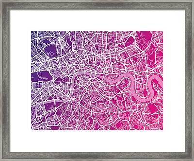 London Map Red Framed Print by Michael Tompsett