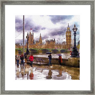 London Rain Watercolor Framed Print by Marian Voicu