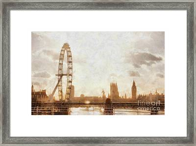 London Skyline At Dusk 01 Framed Print by Pixel  Chimp