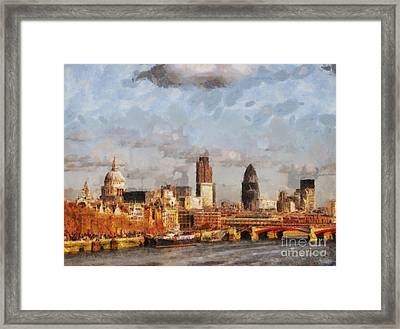 London Skyline From The River  Framed Print by Pixel Chimp