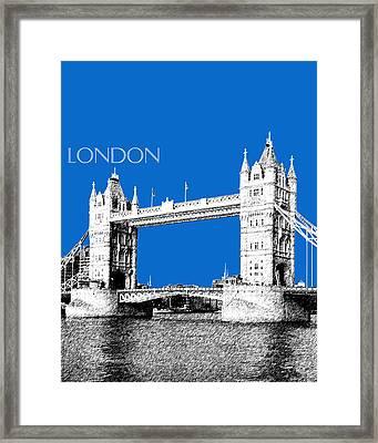 London Skyline Tower Bridge - Blue Framed Print by DB Artist