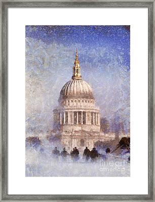 London St Pauls Fog 02 Framed Print by Pixel Chimp