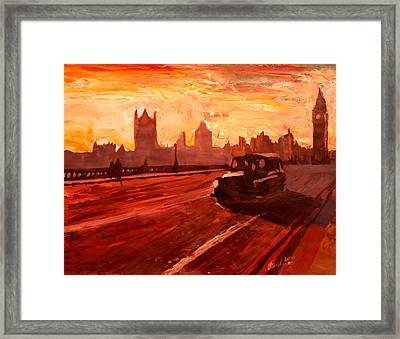 London Taxi Big Ben Sunset With Parliament Framed Print by M Bleichner
