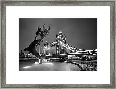London Tower Bridge And Dolphin In Mono Framed Print by Ian Hufton