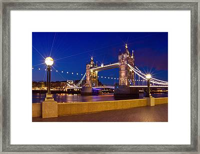 London Tower Bridge By Night Framed Print by Melanie Viola