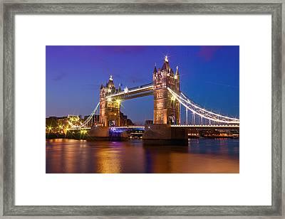 London - Tower Bridge During Blue Hour Framed Print by Melanie Viola