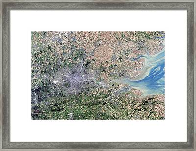 London, True-colour Satellite Image Framed Print by Science Photo Library