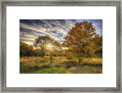 Lone Bench Under Tree - Fall Sunset - Retzer Nature Center - Waukesha Wisconsin Framed Print by Jennifer Rondinelli Reilly