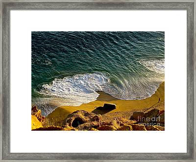 Lone Hiker At Sunset On Secluded Beach At Cabo San Lucas Framed Print by Sean Griffin