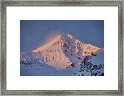 Lone Peak Alpenglow Framed Print by Mark Harrington