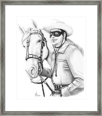 Cowboy Pencil Drawings Framed Print featuring the drawing Lone Ranger by Murphy Elliott