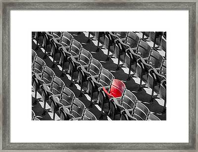 Lone Red Number 21 Fenway Park Bw Framed Print by Susan Candelario