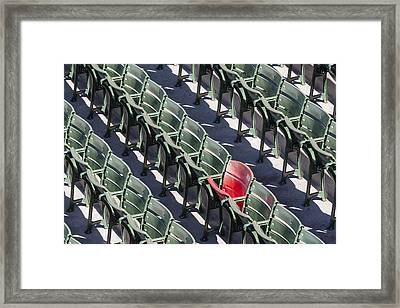 Lone Red Number 21 Fenway Park Framed Print by Susan Candelario
