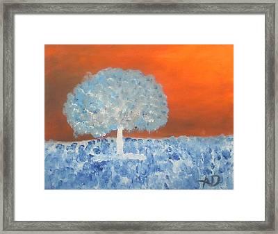 Lone Tree In Meadow Inversed Framed Print by Ashley Davis