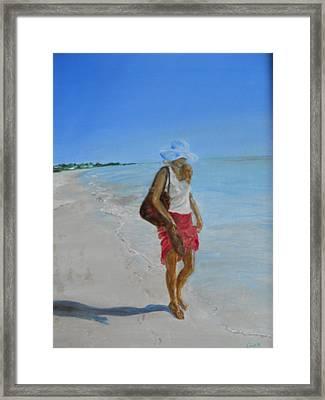 Lonely Beach Walk Framed Print by Joyce Reid