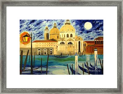 Lonely Gondolier Framed Print by Mariana Stauffer