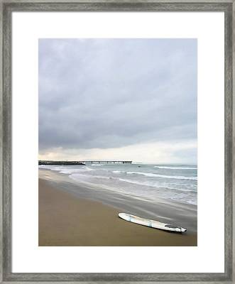 Lonely Surfboard Framed Print by Art Block Collections