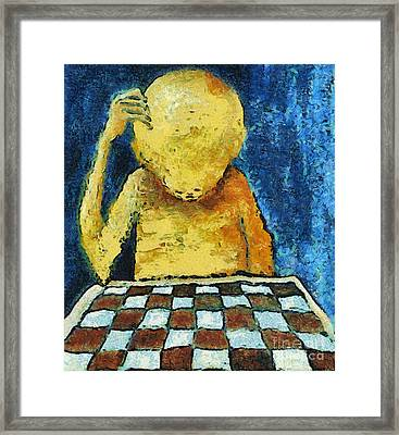 Lonesome Chess Player Framed Print by Michal Boubin