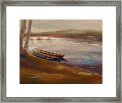 Long Boats At The Crossing Framed Print by John Williams