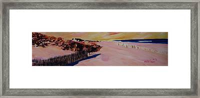 Long Island Beach Scene - Hamptons South Fork Beach Walk With Fence  Framed Print by M Bleichner