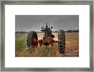Long Row To Hoe...with My Farmall Framed Print by David Bearden