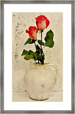 Long Stemmed Red Roses In Pottery Framed Print by Marsha Heiken