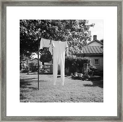 Long Underwear Hanging Out To Dry Framed Print by Library Of Congress