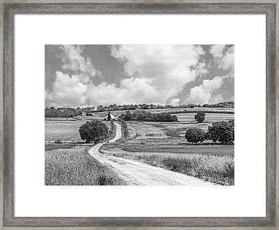 Long Winding Road In Black And White Framed Print by Gill Billington