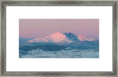 Longs Peak Alpenglow In Winter Framed Print by Aaron Spong