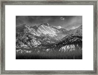 Longs Peak Rocky Mountain National Park Black And White Framed Print by Ken Smith