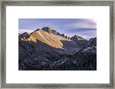 Longs Peak Sunset Framed Print by Aaron Spong