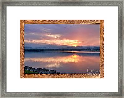 Longs Peak Sunset Reflection Rustic Picture Window Frame Art Framed Print by James BO  Insogna