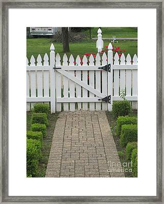 Lookin Out My Front Door Framed Print by Margaret Newcomb
