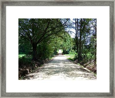 Looking Down A Country Road Framed Print by Eloise Schneider