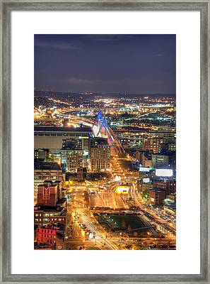 Looking Down -  Boston Skyline Aerial Framed Print by Joann Vitali