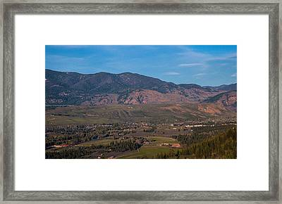 Looking Down On The Town Of Winthrop Washington Landscape Photograph Framed Print by Omaste Witkowski