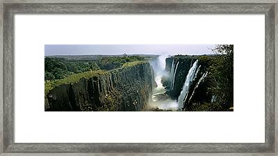 Looking Down The Victoria Falls Gorge Framed Print by Panoramic Images