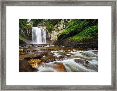 Looking Glass Falls - North Carolina Blue Ridge Waterfalls Wnc Framed Print by Dave Allen