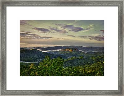 Sunrise On Looking Glass Rock Blue Ridge Parkway Framed Print by Reid Callaway