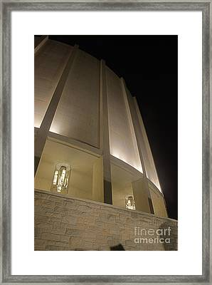 Looking Up Founders Hall At Night Framed Print by Mark Dodd